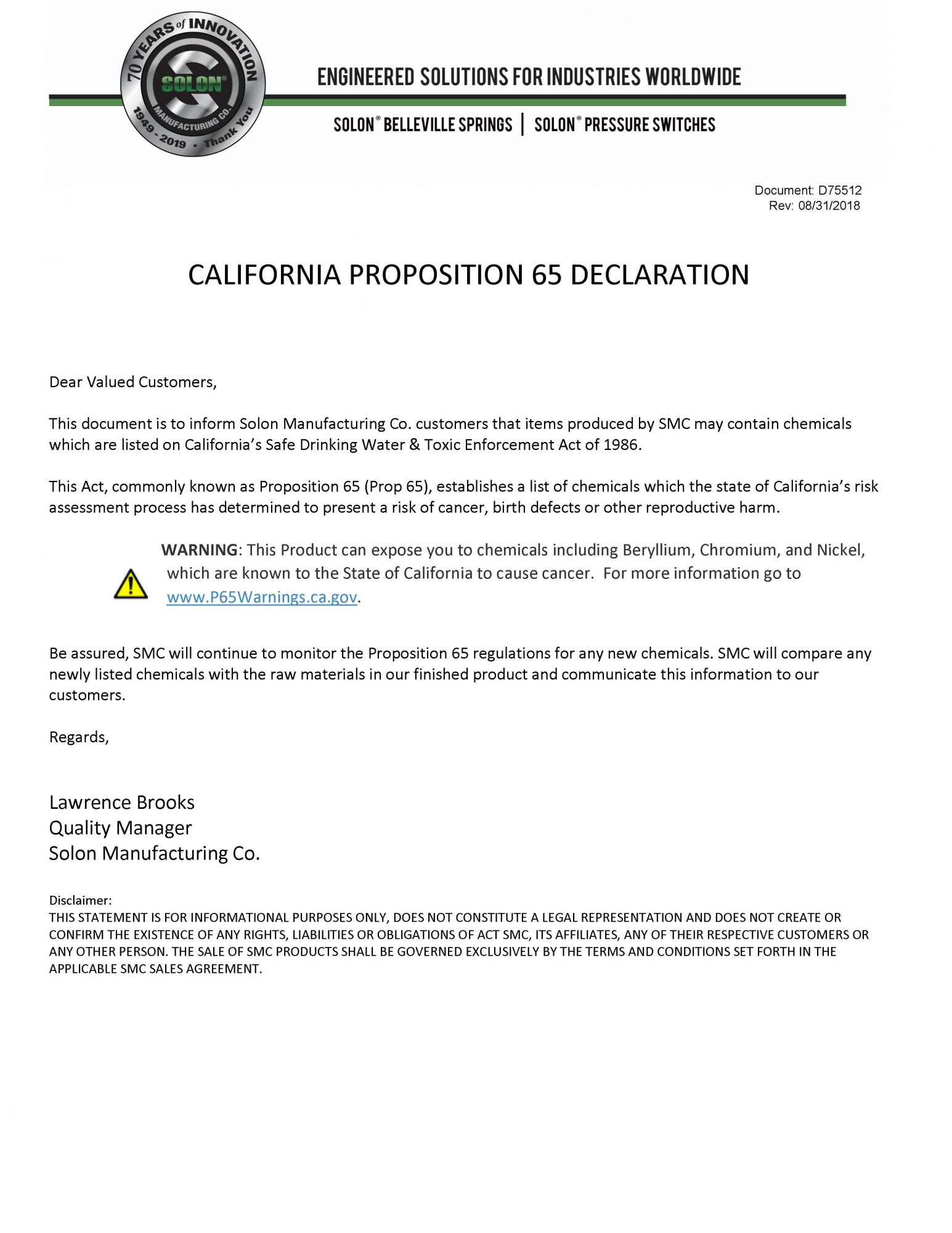 California Prop 65 Declaration