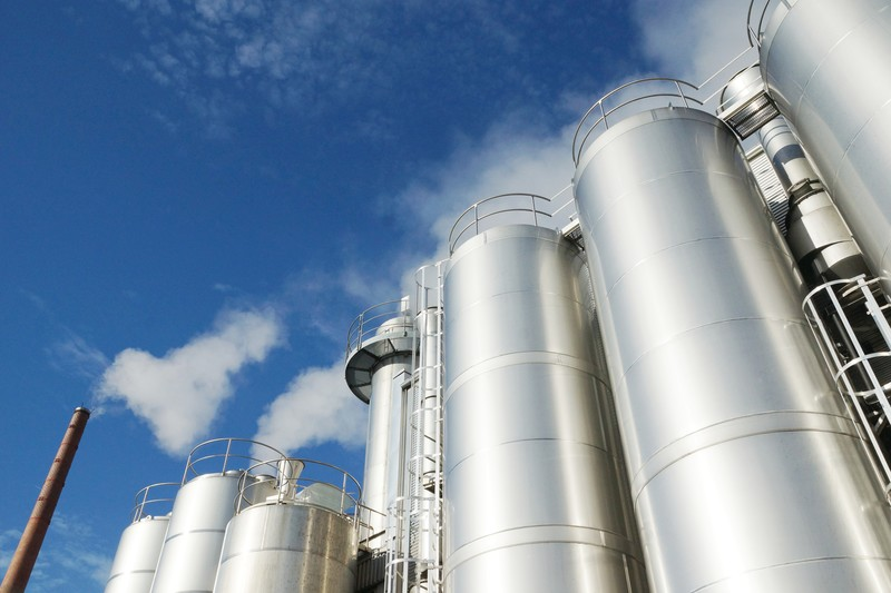 Large metal cylinders at a Dairy plant