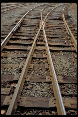 A set of railroad tracks from above, up close